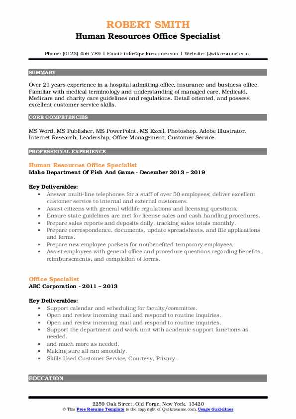 Human Resources Office Specialist Resume Model