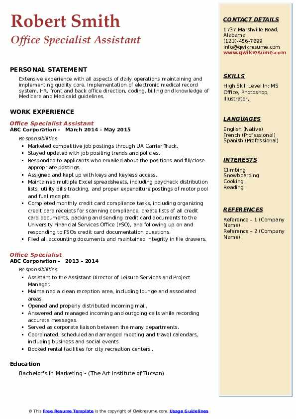 Office Specialist Assistant Resume Format