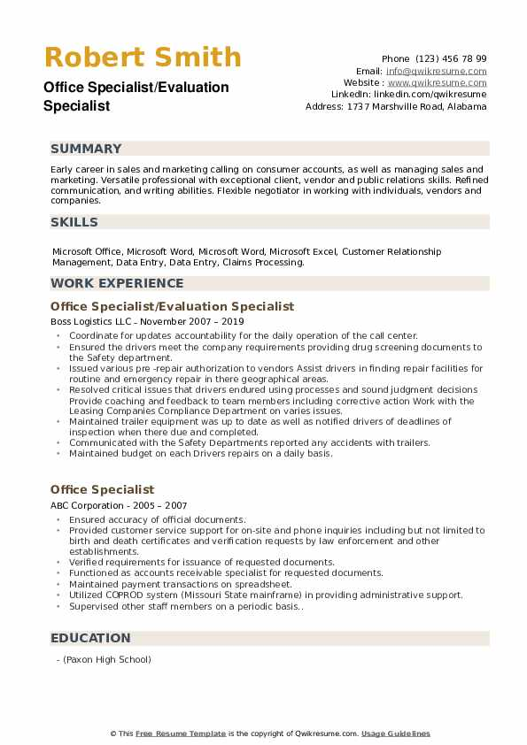 Office Specialist/Evaluation Specialist Resume Model
