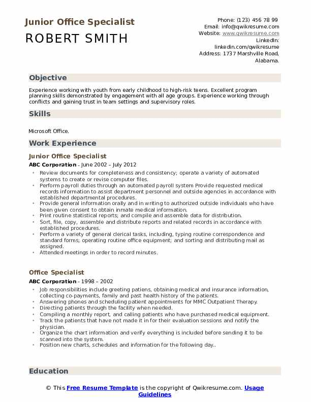 Junior Office Specialist Resume Sample