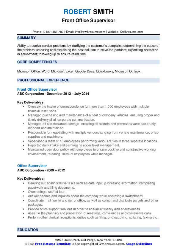 Front Office Supervisor Resume Template