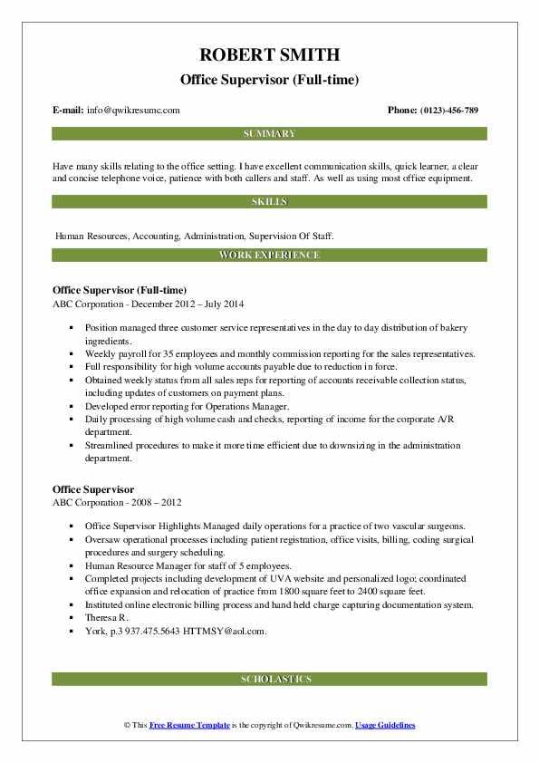 Office Supervisor (Full-time) Resume Template