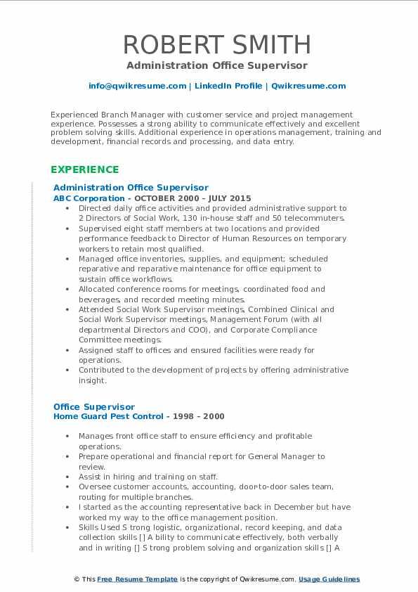 Administration Office Supervisor Resume Sample