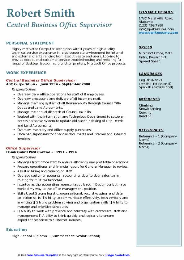 Central Business Office Supervisor Resume Template