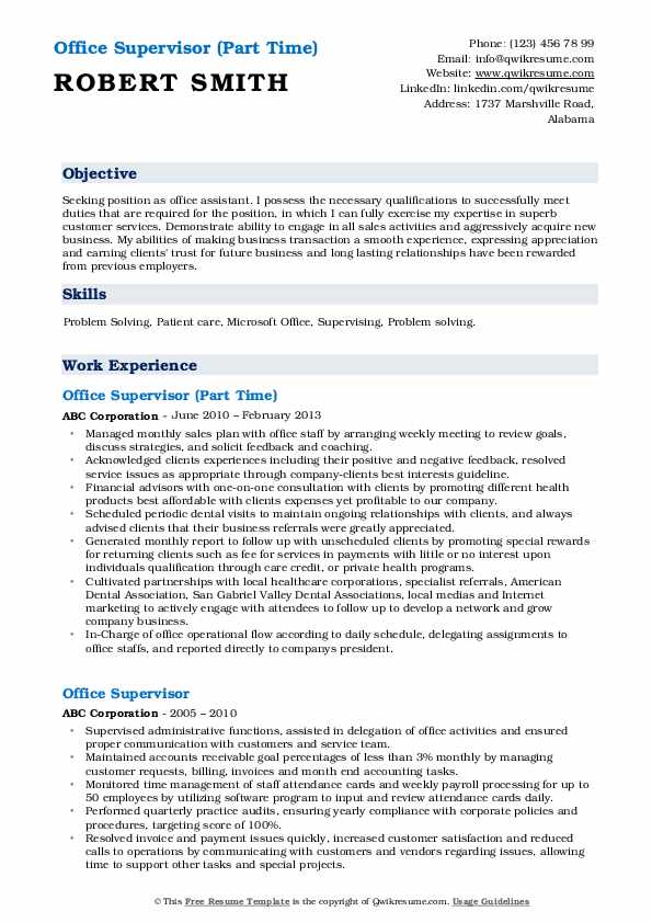 Office Supervisor (Part Time) Resume Example