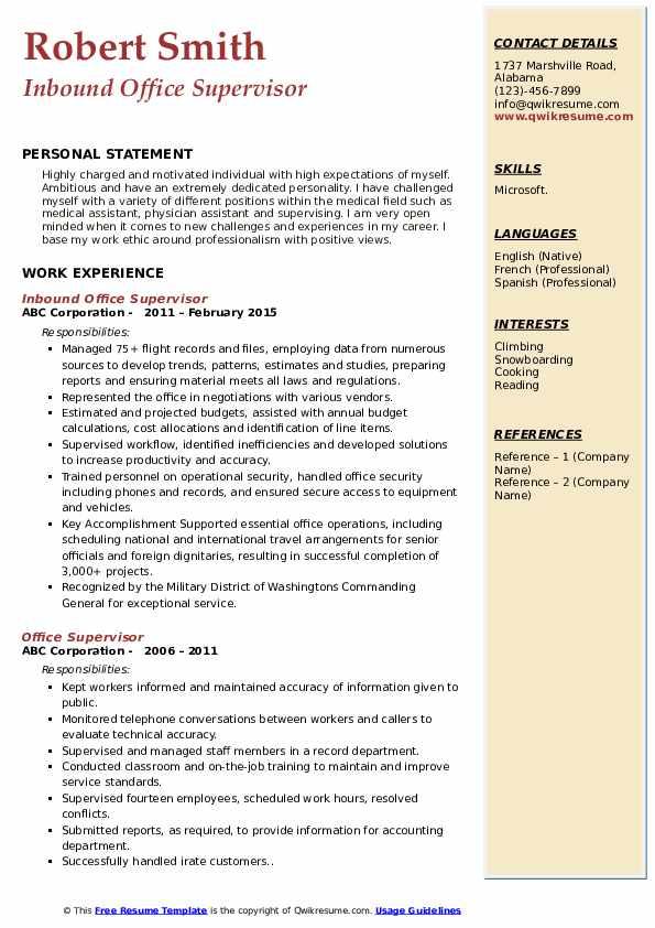 Inbound Office Supervisor Resume Format