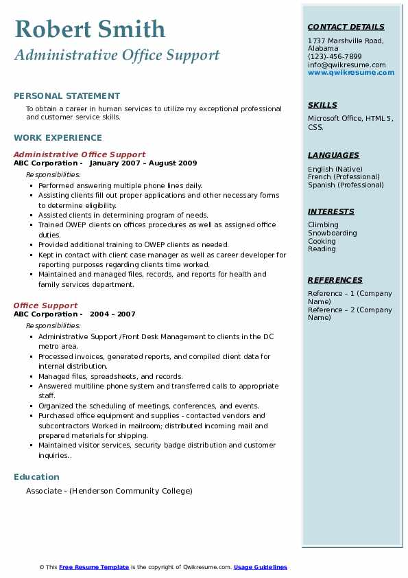 Office Support Resume Samples | QwikResume