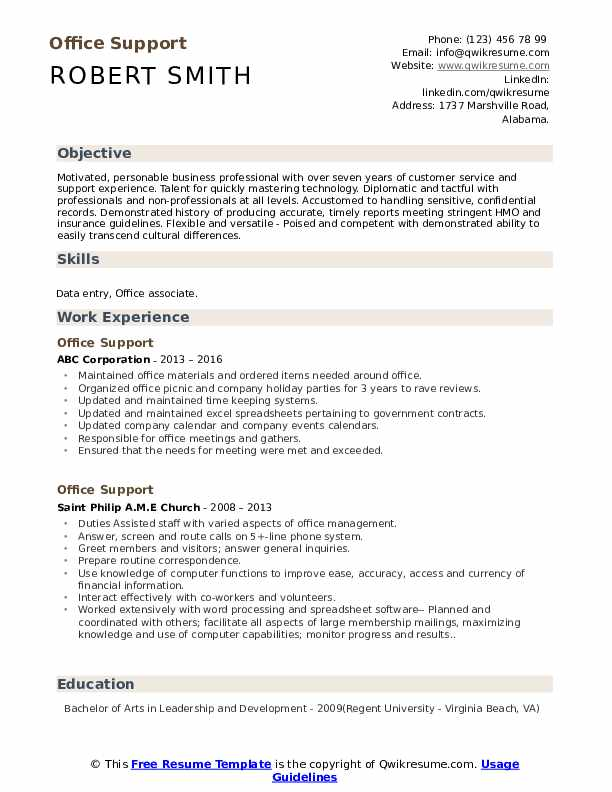 Office Support Resume example
