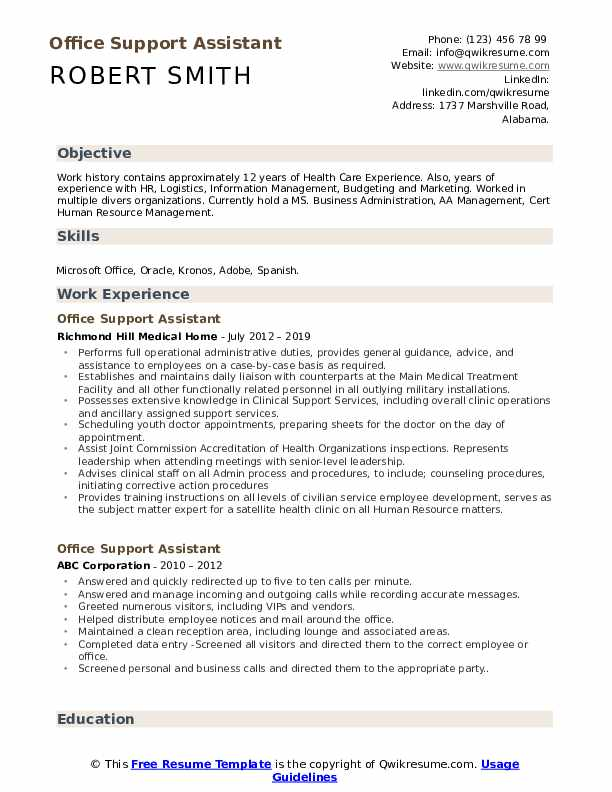 Office Support Assistant Resume Format