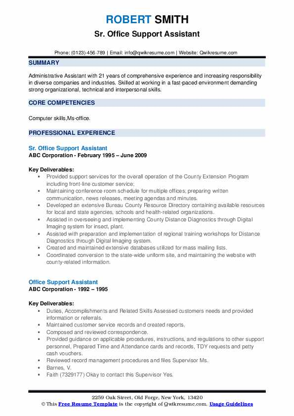 Sr. Office Support Assistant Resume Template
