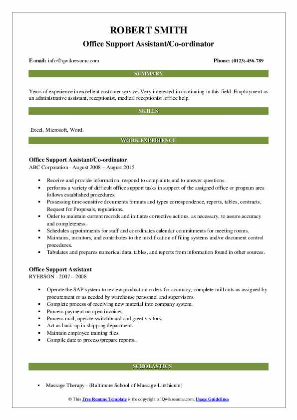 Office Support Assistant/Co-ordinator Resume Template
