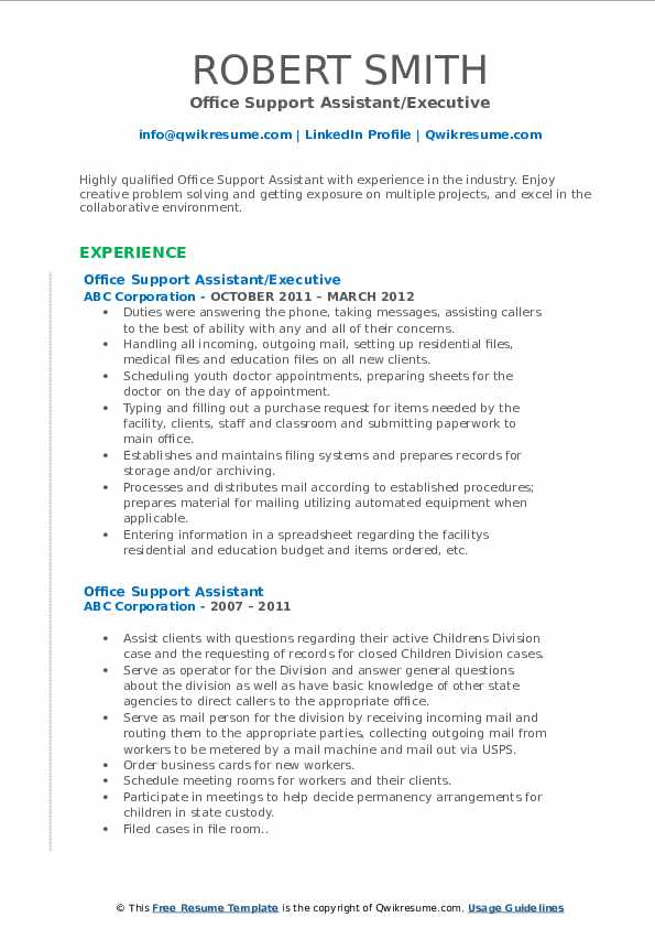 Office Support Assistant/Executive Resume Model