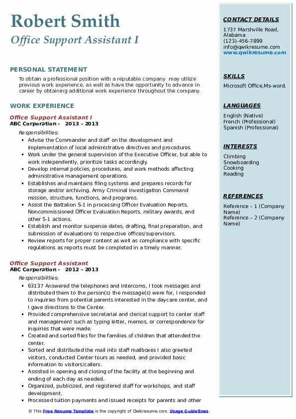 Office Support Assistant I Resume Model
