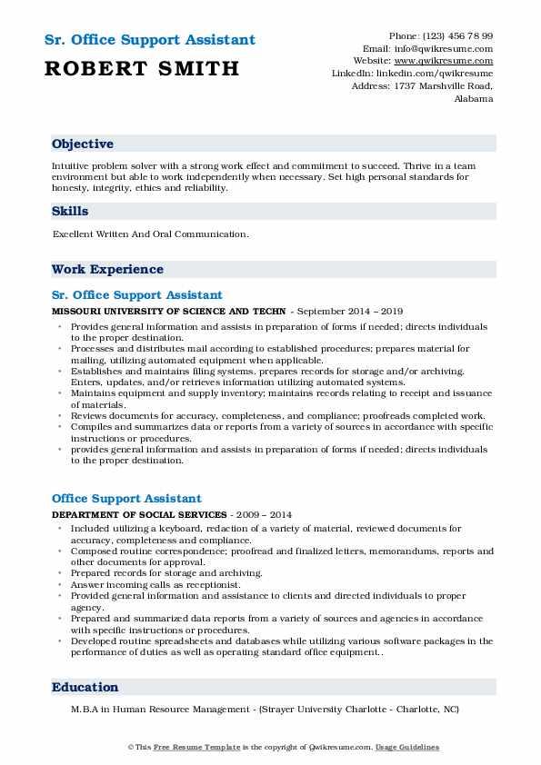 Sr. Office Support Assistant Resume Sample