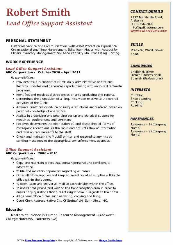 Lead Office Support Assistant Resume Example