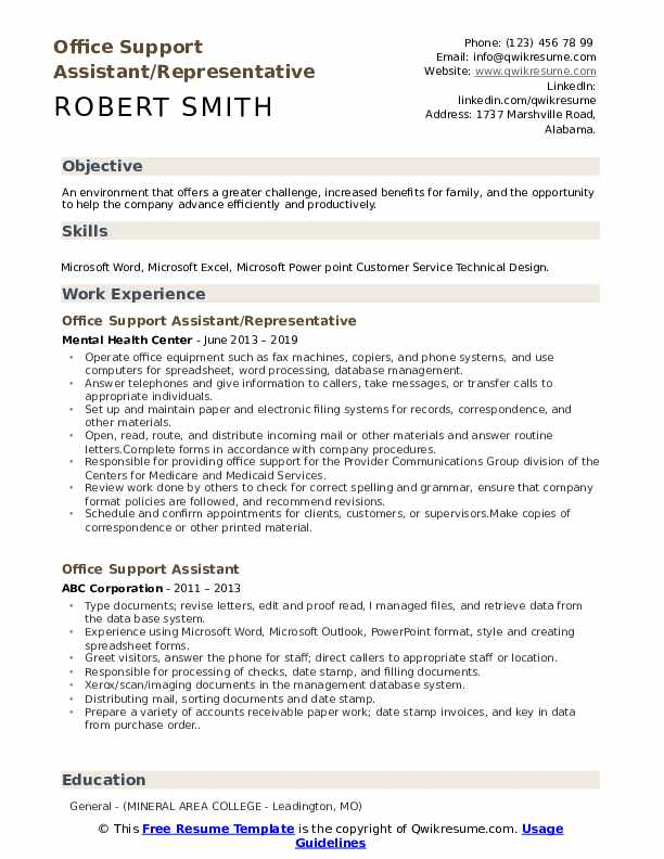 Office Support Assistant/Representative Resume Sample