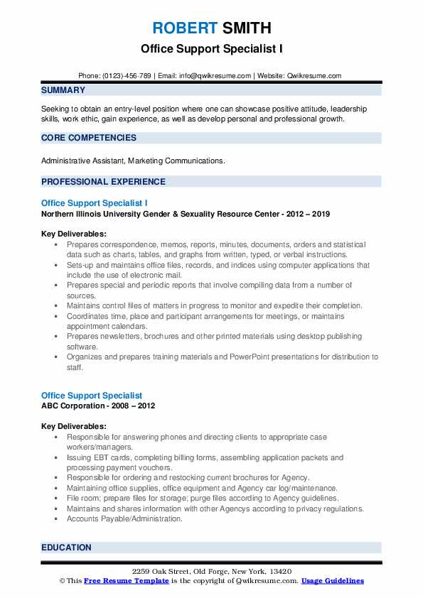 Office Support Specialist I Resume Example