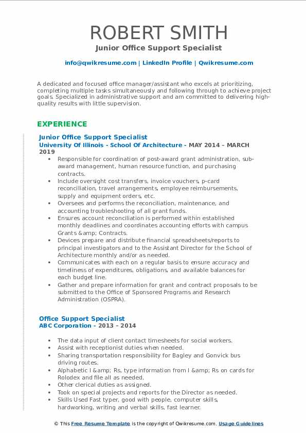 Junior Office Support Specialist Resume Template
