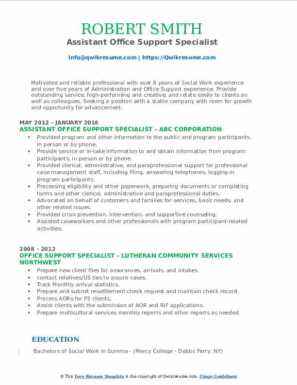 Assistant Office Support Specialist Resume Example