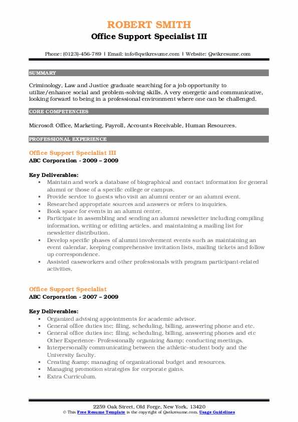 Office Support Specialist III Resume Model
