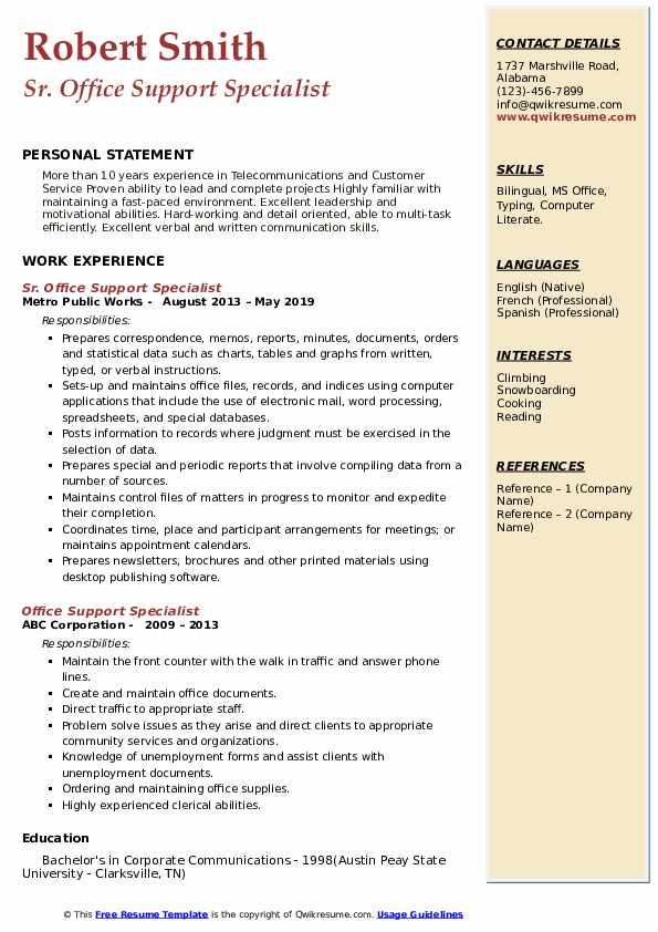 Sr. Office Support Specialist Resume Model