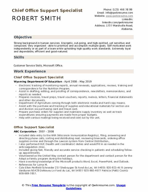 Chief Office Support Specialist Resume Template