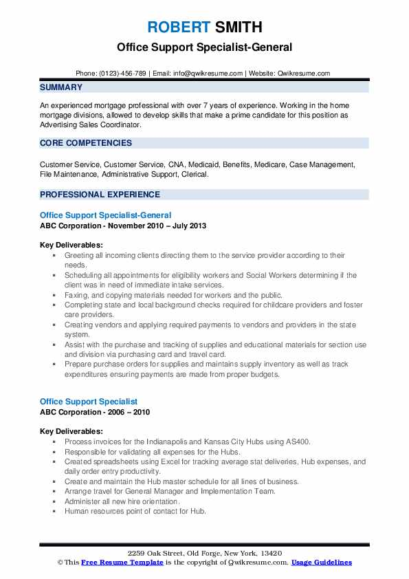Office Support Specialist-General Resume Format