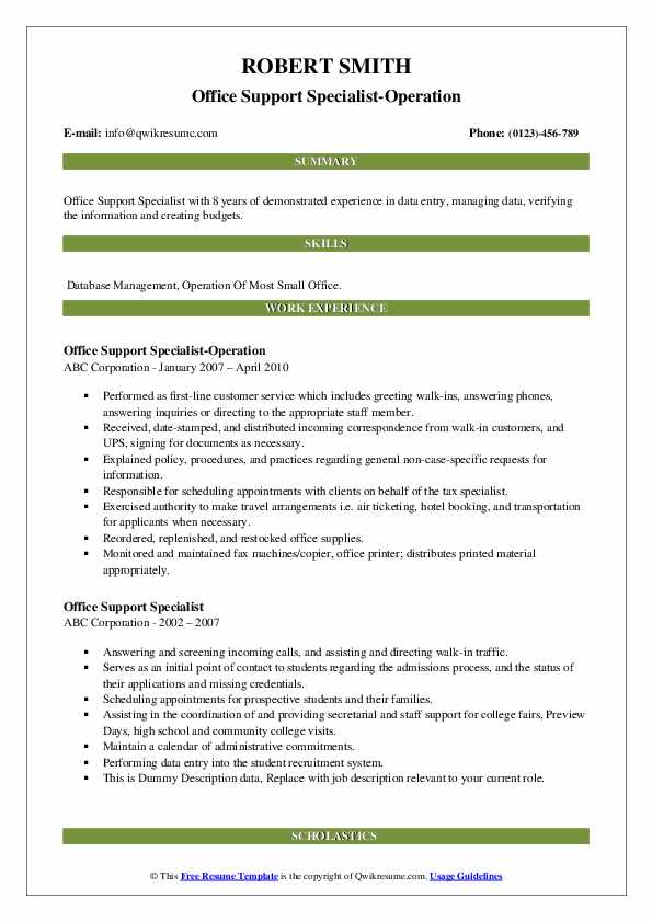 Office Support Specialist-Operation Resume Example