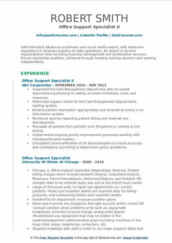 Office Support Specialist II Resume Model