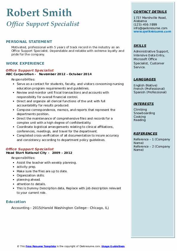 Office Support Specialist Resume example