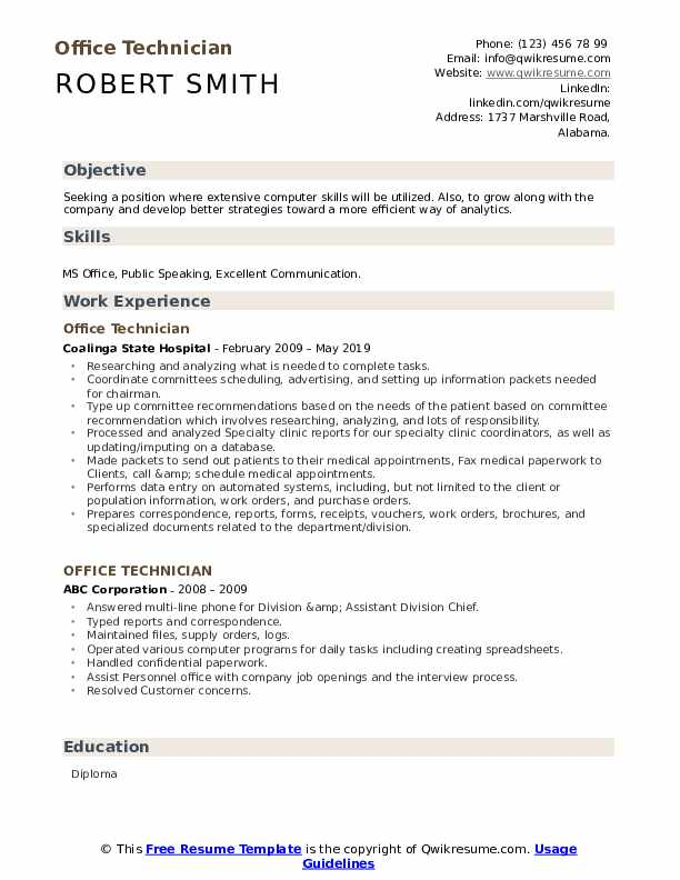 Office Technician Resume Format