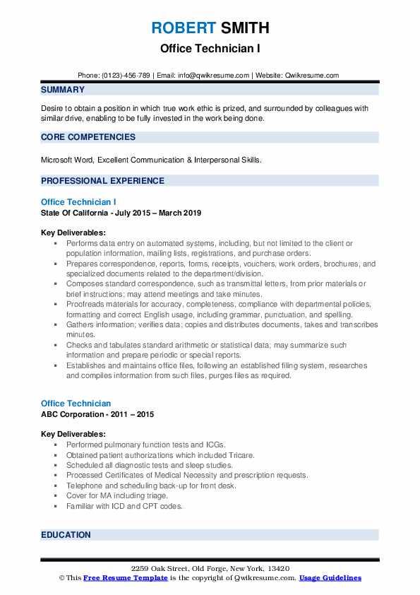 Office Technician I Resume Format