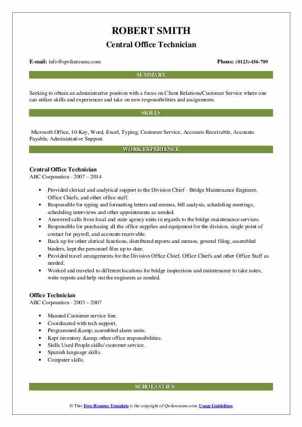 Central Office Technician Resume Sample