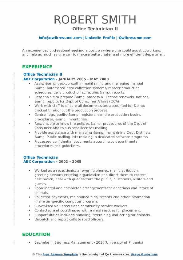 Office Technician II Resume Model