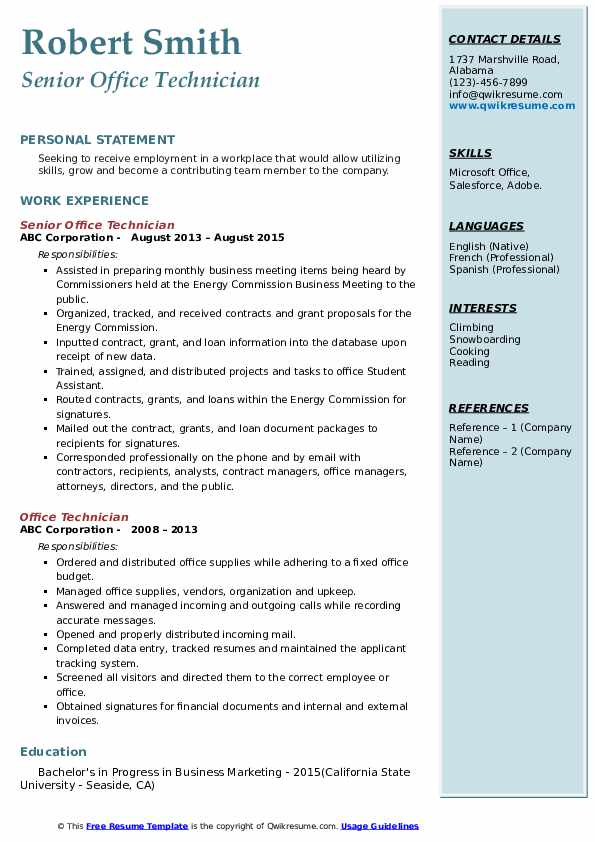 Senior Office Technician Resume Format