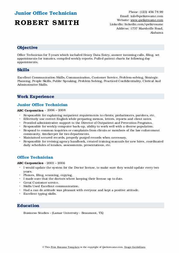 Junior Office Technician Resume Example