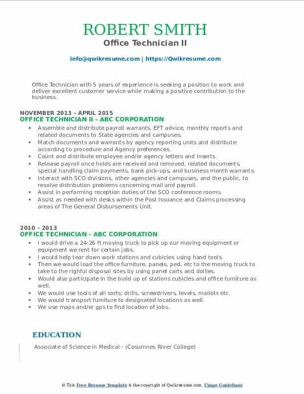Office Technician II Resume Format