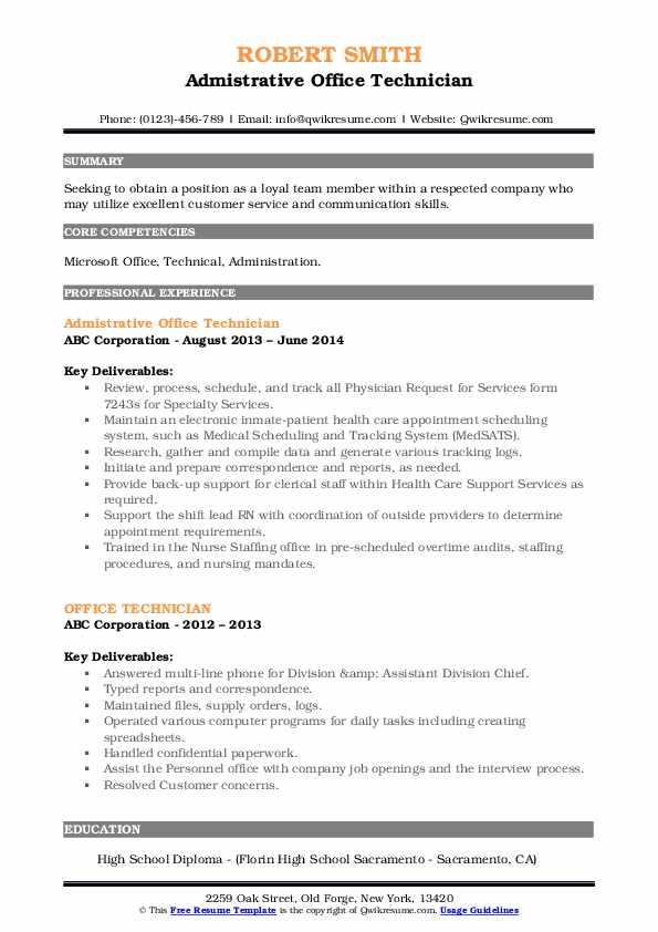 Admistrative Office Technician Resume Format
