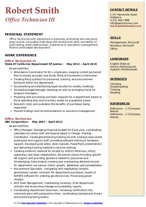 Office Technician III Resume Example