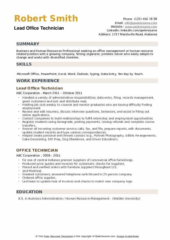 Lead Office Technician Resume Template