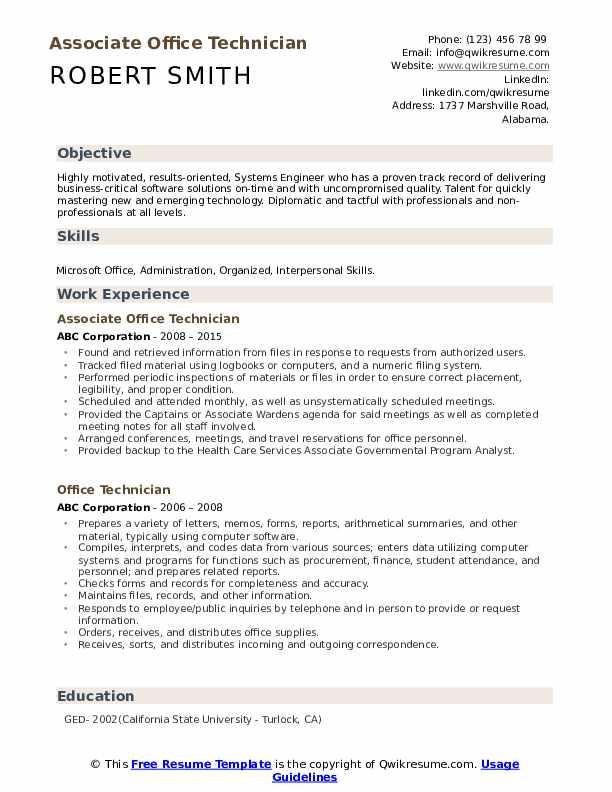 Associate Office Technician Resume Format