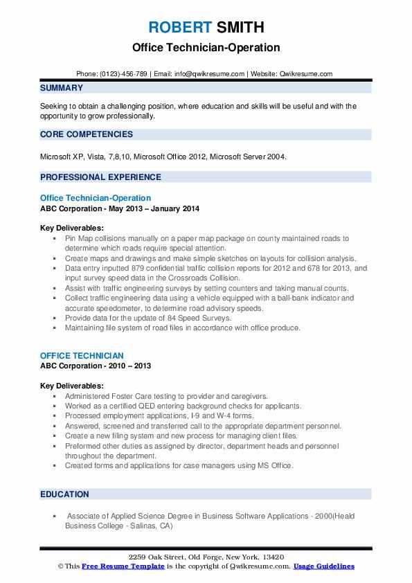 Office Technician-Operation Resume Model