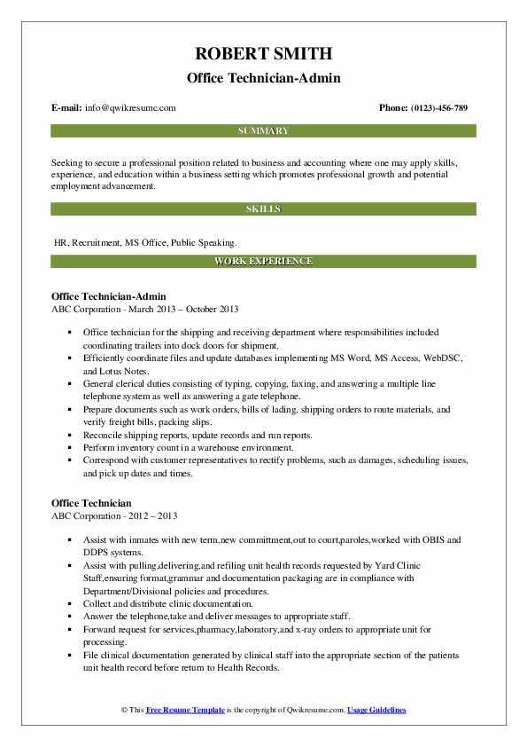Office Technician-Admin Resume Example