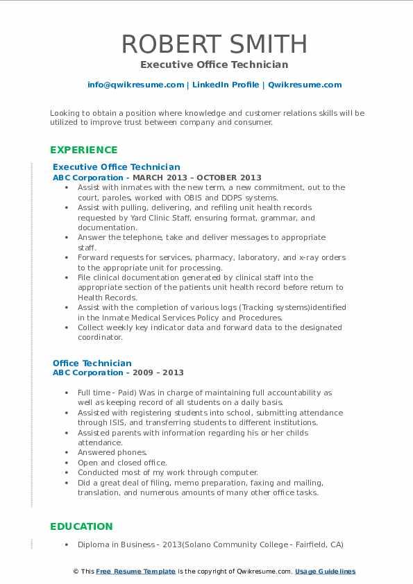 Executive Office Technician Resume Model