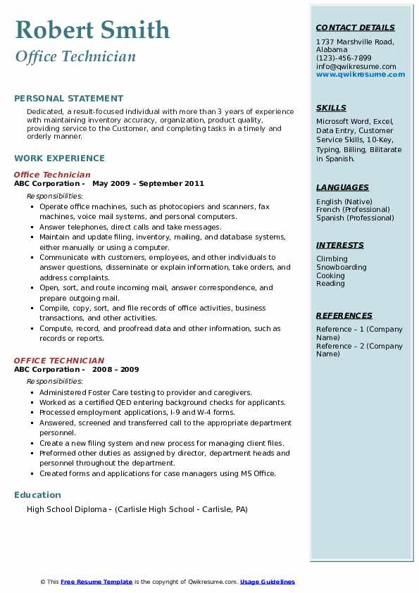 Office Technician Resume example