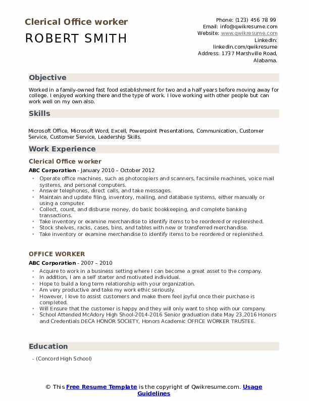 Clerical Office worker Resume Model
