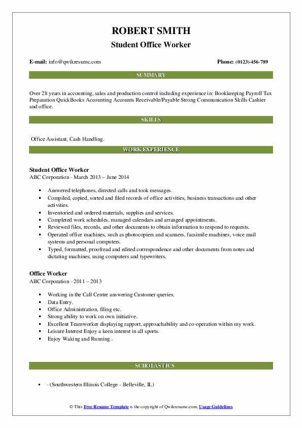 Student Office Worker Resume Sample