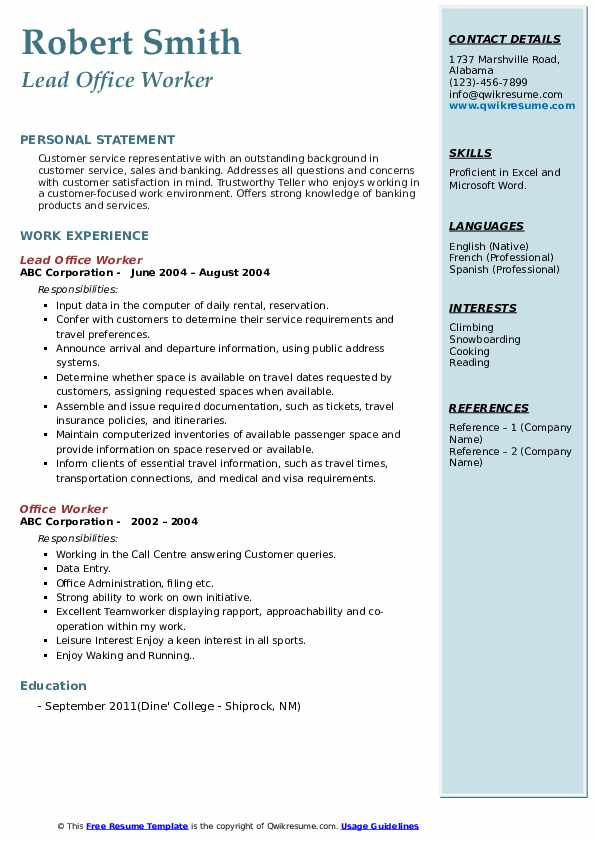 Lead Office Worker Resume Example