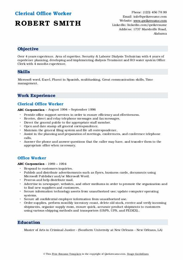 Clerical Office Worker Resume Format