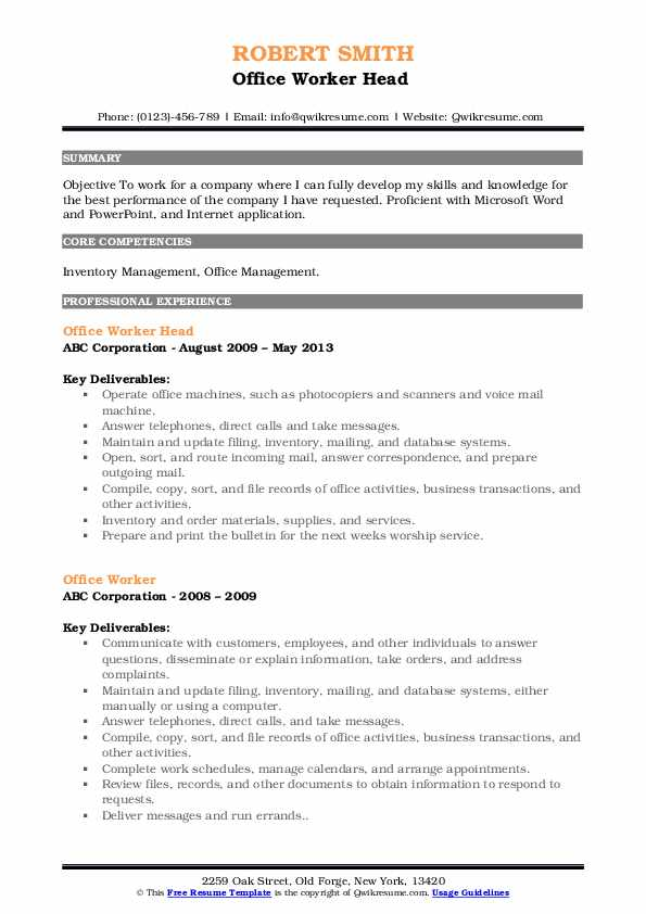 Office Worker Head  Resume Model